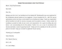 recommendation letter for professor sample recommendation letters printable letter from professor