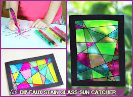 how to faux stain glass window diy faux stained sun catcher tutorial