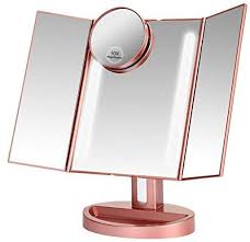 lighted makeup mirror with 10x 3x 2x 1x magnification trifold vanity mirror with 22 led lights 180 degree free rotation touch screen control