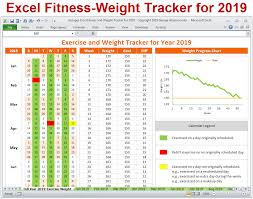 Fitness Progress Chart Template For Excel Excel Fitness Tracker Weight Tracker For Year 2019 Excel