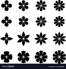 flower black white symbols vector image