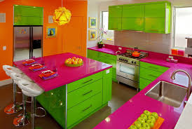 Colorful Kitchen Colorful Kitchen With Pink Theme Open Cabinets And Oven Gas Range