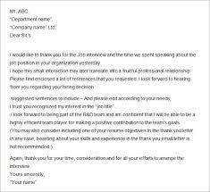 Sample Thank You Letter Afternd Job Interview Lezincdc Com