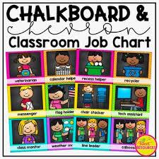 Classroom Monitors Chart Classroom Job Chart In A Chalkboard And Chevron Decor Theme