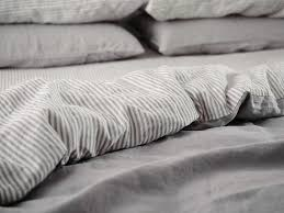 ultra luxurious 100 pure french double sided linen quilt cover in soft grey stripes
