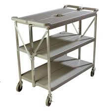 Carlisle Fold N Go Gray Large Heavy Duty 3 Tier Collapsible Utility And Transport Cart