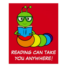 cartoon bookworm with book and gles poster