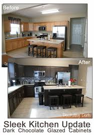 Paint Kitchen Cabinets Before And After Cool Remodelaholic Sleek Dark Chocolate Painted Cabinets