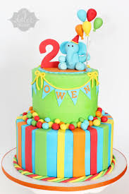 Elephant Bright Birthday Cake Buttercream 2 Tiered Cake With