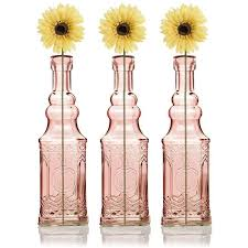 3 pack 6 5 ella pink vintage glass bottle with cork diy wedding flower bud vases
