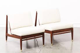 mid century walnut slipper lounge chairs