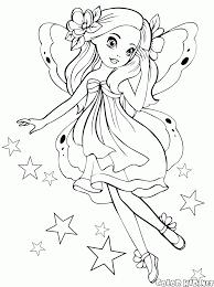 Disegni Da Colorare Principessa Fata In Volo Con Farfalle E Fiori Da