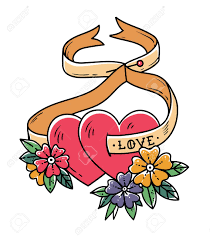 Heart And Ribbon Designs Two Loving Hearts On Tied With Ribbon Tattoo Design Tattoo Hearts