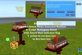 Mailbox with mail indicator Bronze Victorian Menu Notecard Mailbox With Sculpt Mahogany Stand Indicator Flag Rez Box boxed Apartment Therapy Second Life Marketplace Victorian Menu Notecard Mailbox With