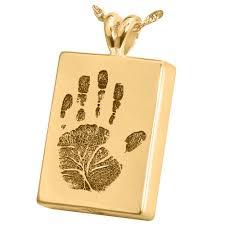 handprint rectangle solid 14k gold