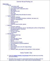 Packing List For Summer Vacation Vacation Packing Checklist Sample 8 Examples In Word Pdf