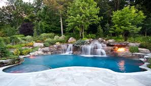 luxury backyard pool designs. Modren Pool Luxury In Ground Swimming Pool With Waterfalls And Fire Pit Design  Installation Mahwah Nj For Luxury Backyard Pool Designs U