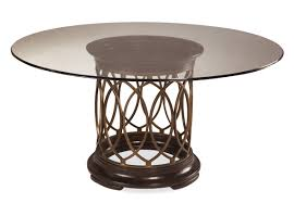 curving brown steel base with round dark brown on the top and bottom feat round glass