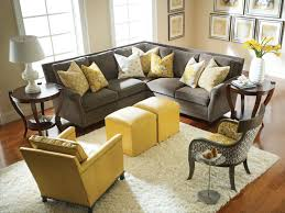 gray and yellow living rooms