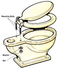 changing a toilet seat. a new toilet seat can be installed by inserting the two bolts, slipping on washers, and tightening nuts. careful not to over-tighten nuts or changing