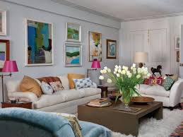... Living Room, White Eclectic Living Room With Colorful Accent Pillows  Orange And Blue Party Decorations ...