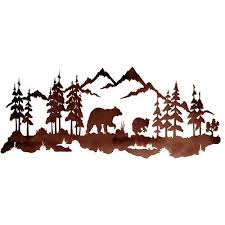 tree scene metal wall art: bear family  metal wall art at rocky mountain cabin decor