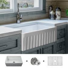 Fsw1005 Luxury 30 Inch Pure Fireclay Modern Farmhouse Sink In White
