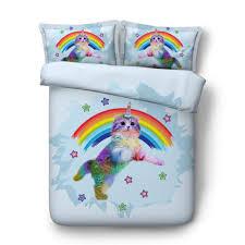 4 quilt covers sets girls lovely cartoon cat print bedding single full queen super king size unicorn kitten rainbow sheets duvet king size plaid duvet cover