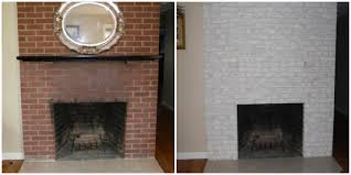 image of paint brick fireplace before after
