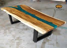 suar wood dining table top with resin