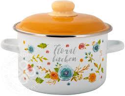 Купить <b>Кастрюля</b> Appetite Floral kitchen <b>эмалированная 4л</b> с ...