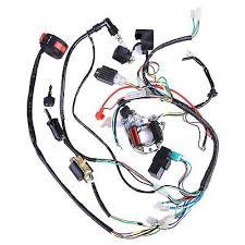 50 70 90 110 125cc mini atv complete wiring harness cdi stator complete electrics atv klx stator 50cc 125cc coil cdi wiring harness spark plug