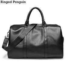 ringed penguin fashion leather men s travel bag luggagetravel bag men carry on leather duffle bag weekend bag big tote handbag malaysia