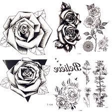 218 руб 10 скидкалетняя горячая 3d черная треугольная роза временная татуировка
