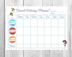 Kids Week Blank Planner Children Schedule Kids Chore Chart Printable Goal Reward Chart Responsibility Chart Star Chart Kids Page Template