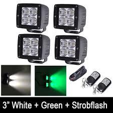Green Led Work Light Us 140 76 12 Off 4pcs Set White Green Strobeflash Led Work Light Bar 3x3