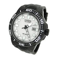 citizen mens eco drive fin divers watch white dive shop online citizen mens s fin eco drive dive watch white black bn0095