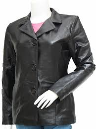 timeless black women s leather blazer lucia