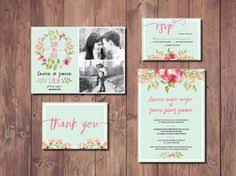 pink and green floral wedding invitation kit by gillaspiedesigns Wedding Invitation Kits Coral boho chic wedding invite, boho wedding invitation suite, mint green wedding invitation, mint wedding save the date, printable invitation wedding invitation kits can insert picture