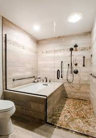 this master bath remodel features a beautiful corner tub inside a walk in shower the side