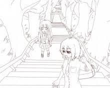 神社への階段線画 目指せゲームメイキング イラスト上達日記