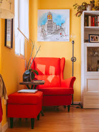 Nice Comfy And Classy Red Reading Chair In The Corner And Red Table White Book  Shelf In