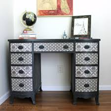 Mod Podge Kitchen Table French Decoupage Desk Themed Furniture Makeover Day Girl In