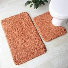 soft lamb plush bathroom mat 2 pcs set toilet mat 4 solid colors bathroom rug household toilet feet pad super soft bath mat