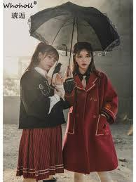2019 <b>WHOHOLL</b> Women Wool Coat Long Preppy Style School ...
