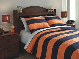brown and white rugby stripe bedding navy orange full coverlet set furniture exciting 0