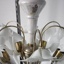 large italian vintage pendant lamp murano glass calla lily 1950s italy
