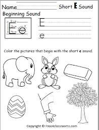 Free phonics worksheets for kindergarten grade 1 and 2 kids. Free Beginning Sounds Worksheet Short E Free4classrooms