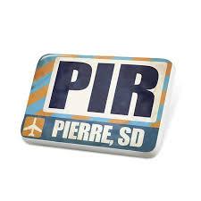 Neonblond Porcelein Pin Airportcode Pir Pierre Sd Lapel Badge