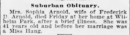 1914 Mrs Sophia Arnold wife of Frederick D Arnold died in Baltimore -  Newspapers.com